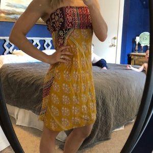 Silky strapless summer dress